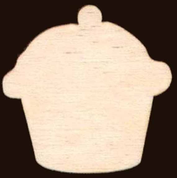 Cupcake Cup Cake Shape Unfinished Craft Wood Cutout 890