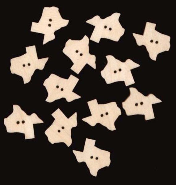 TEXAS Y'ALL 1 inch Texas button 12 Pieces Unfinished Craft Wood Cutout 425-1B
