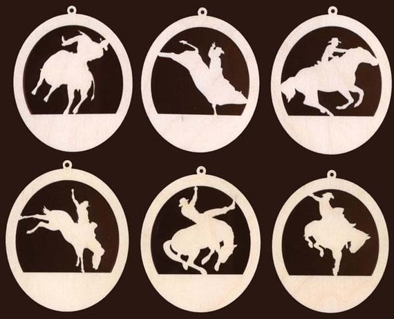6 Piece Rodeo Cowboy Horse Bull Rider Western Christmas Ornament Natural Craft Wood 933-4ND
