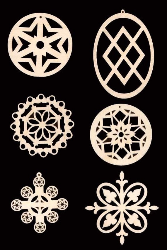 6 Piece SNOWFLAKE Christmas Ornaments Unfinished Craft Wood Cutouts 907