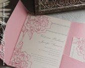 Digital Peony InvitationTemplates (silver text with peony color of choice)
