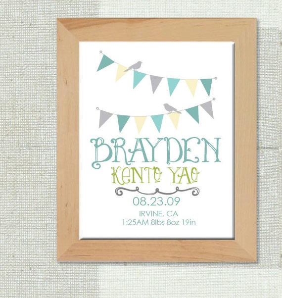 Custom Birth Print Announcement great for gifts and to put in a nursery