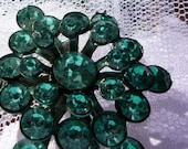 Vintage 1960s Green-Blue Crystal Brooch