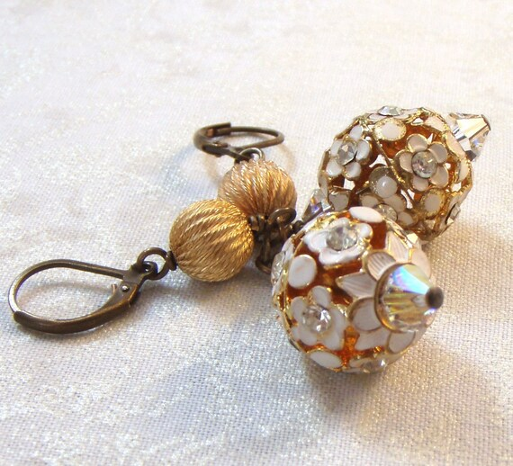 Classic White Earrings with Enameled Bead Balls