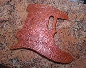 Custom Handmade Tooled Leather Pickguard for Fender Telecaster Antique Saddle Tan