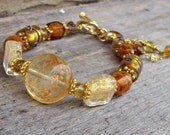 Iced Tea with Lemon - Lampwork and Murano Foil Glass in Shades of Amber Bracelet