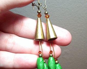 Green Satin Peapod Glass Bead Windchimes Earrings in Antique Brass
