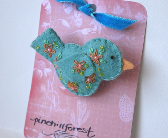 Handmade Felt Brooch or Pin - A Little Teal Bird with Embroidered and Beaded Embellishments