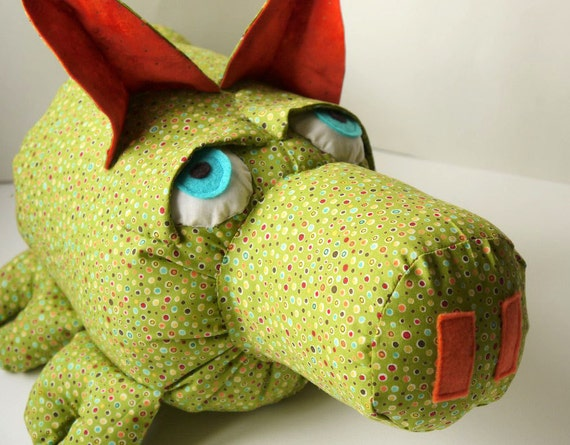 Pickle - A One of a Kind Baby Friendly Stuffed Animal Pig in Green Polka Dots