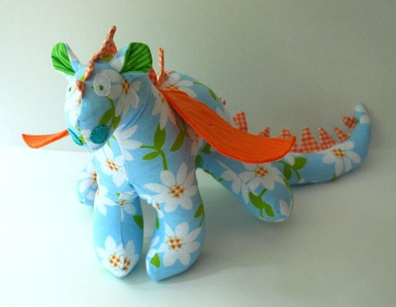 Candace - A One of a Kind Baby Friendly Beastie or Dragon Toy Stuffed Animal in Light Blue, White and Orange