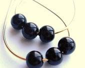 Black Trio Teardrop . Gold .  Hoop Earrings