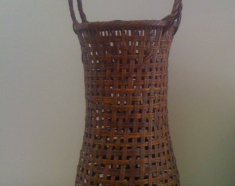 Vintage Antique Japanese IKEBANA Woven Bamboo Wicker Flower Vase Basket