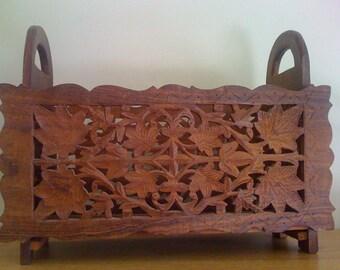 Vintage Ornate Hand Carved Wood Magazine Holder/ Collapsable/ Decorative Furniture Wooden Storage Organizer
