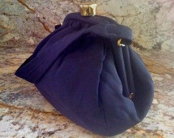 2days Sale Antique Victorian Blue Silk BENGALINE Hand Bag / Evening Bag Purse Chunky Solid Brass Clasp- Patina