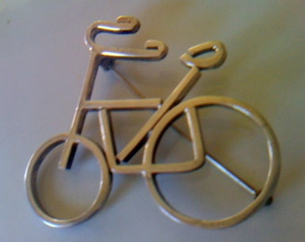 Sale Vintage 1950s Modernist Sterling Silver Bicycle Brooch/ Pin  Large Mexico 925 Bicycle Brooch