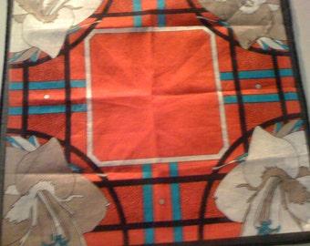 Sale Vintage 80s Designer Ginnie Johansen Signed Pure Cotton Handkercheif  Made in Japan 1988 Copyright N37