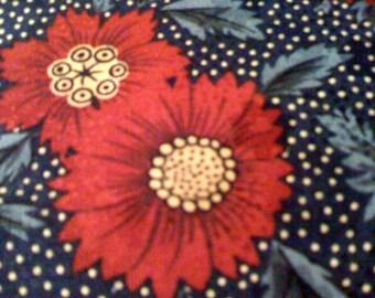 2Days Sale Vintage 80s Anne Klein ll Pure Silk Floral Navy Blue Red Handkercheif -Hong Kong 10 x 10 Square