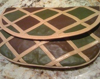Vintage 70s Multi Color Patchwork Clutch Handbag/ Shoulder Bag