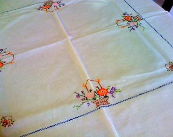 Sale Vintage 1940s Kitchen Table Cloth// Victorian Floral Basket of Flowers
