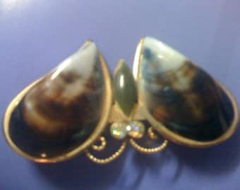 2Day Sale Rare Vintage 1970s Natural Mussel Shell/Jade Butterfly Pin/ Brooch with Sparkly Rhinestones