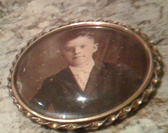 Sale Antique Victorian Era 1800s Celluloid Metal Frame Photograph Tintype Photo of Young Boy Great Collectables-