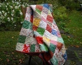 summer weight quilt--Classic Americana Patchwork Quilt  double/full size  81 X 81  All Cotton
