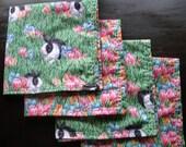 Easter Napkins--4 reversable napkins--cotton, bunnies and crocus