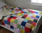 custom listing for jackieperell--Patchwork Quilt, TWIN size, 72X94.5, cotton blanket