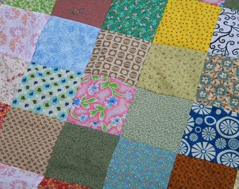 Quilts, Patchwork Quilt--LAP SIZE--54X81--Funky Random fabrics--all cotton, retro, vintage look, handmade