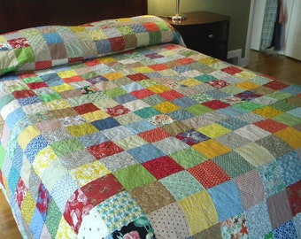 Quilt--Patchwork Quilt, California King Size, 118X103 Classic Americana, all cotton blanket, retro, vintage look