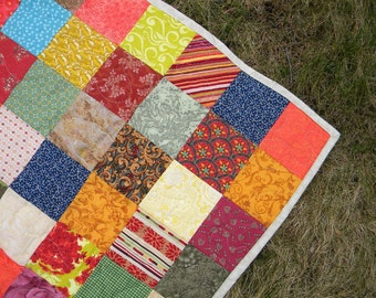 Patchwork Quilt--Queen Size--Autumn colors--93X93--all cotton blanket, scrappy, farmhouse quilt, traditional