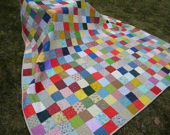 Farmhouse Quilt--Patchwork Quilt--handmade--Queen Size--Classic Americana--93 X 93--made to order, free US shipping