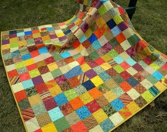 Quilt--Patchwork quilt picnic size Warm Earthtone  81 X 81 blanket