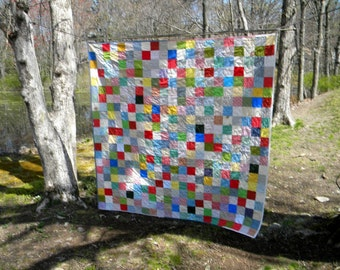 Free US Shipping--Picnic Patchwork Quilt Queen Size 93 X 93 Classic Americana colors with two matching pillow shams