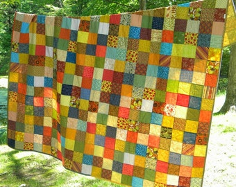 Quilt--Patchwork Quilt double Size--81X81--Warm Earthtone colors cotton blanket