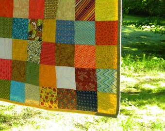Quilts, Patchwork bed Quilt--Queen Size--Warm Earthtone colors, tangerine, aqua, cotton bedding, handmade, greens golds