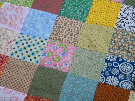 Quilts, Patchwork Quilt--LAP SIZE--54X81--Funky Random fabrics--all cotton, retro, vintage look, handmade