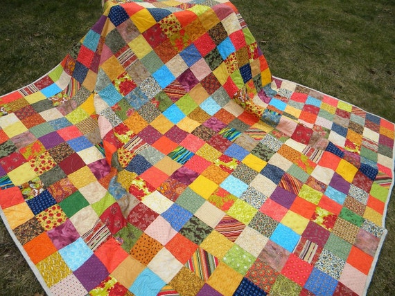 Quilts, Patchwork bed Quilt, Queen Size, 93X93, Warm Earthtone, aqua, orange, cotton blanket, decor, bedding