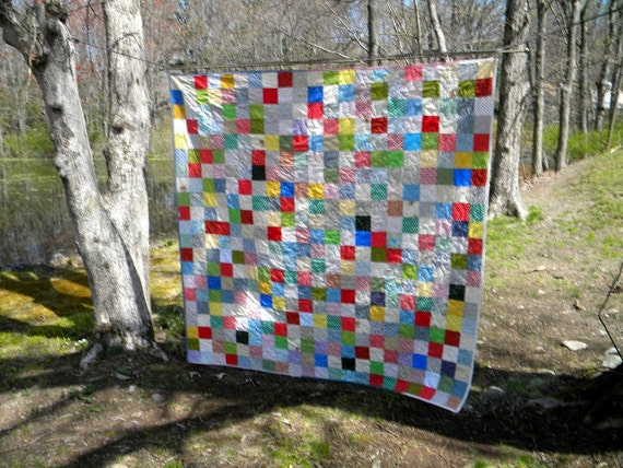 Quilts, Patchwork bed Quilt Queen Size 93 X 93 Classic Americana, primary colors ,two matching pillow shams, cotton, traditional