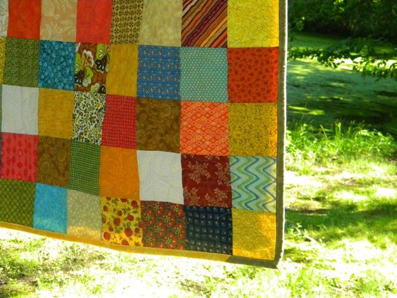 Qiuilts, Patchwork bed Quilt--Queen Size--Warm Earthtone colors, tangerine, aqua, cotton bedding, handmade, greens golds