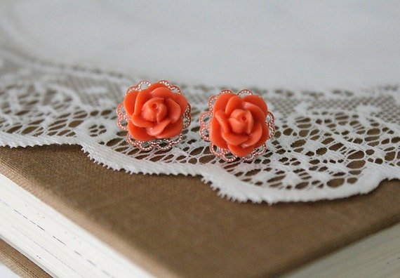 Vintage Inspired- Coral rose and silver filigree stud earrings