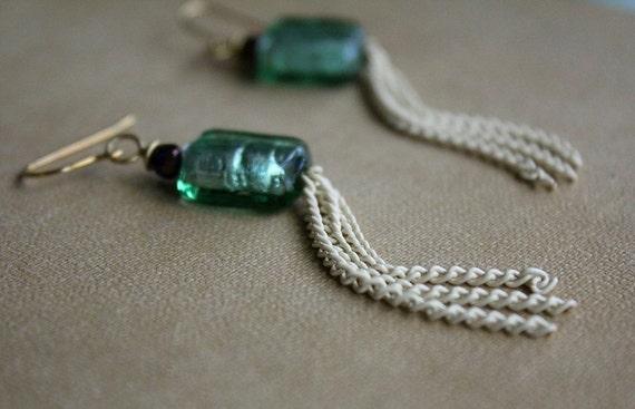 Modern Gypsy- Sea Glass Green earrings with white tassel