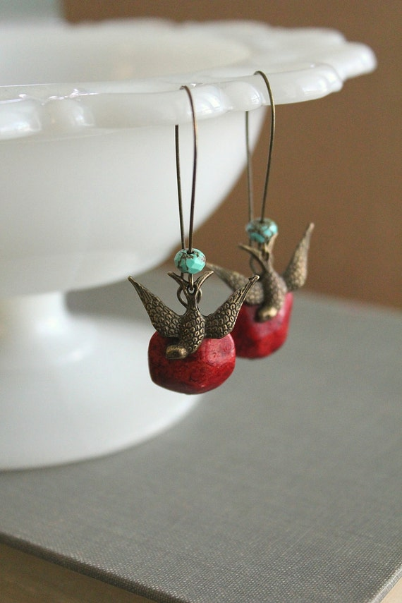 Antique bronze swallow bird earrings with Red Coral and Turquoise - boho, hippie, free spirited