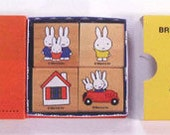 DISCONTINUED Miffy Bruna Stamp Set Wooden Rubber Stamps - Kodomo no Kao Set of 4