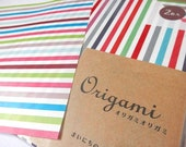 Origami Paper Colorful Striped Origami Sheets With Folding Instructions ( 20 sheets total - 10 in each design )