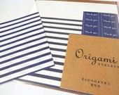 Origami Paper Stripes in Blue with Thank You Stickers and Folding Instructions ( 20 sheets total )