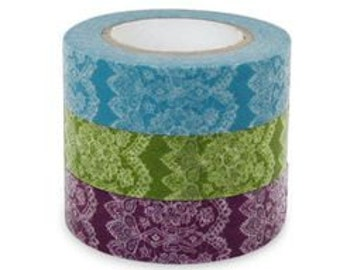Set of 3 Blue Green and Purple Lace Design Japanese Washi Masking Tape  ( 15mm x 15m set of 3 )