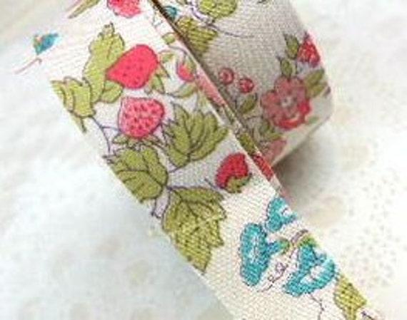 Pretty Flowers Fabric Masking Tape Set of 2 - Liberty Nancy Ann Red Tape ( 15mm x 2m )