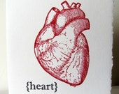 Red Heart - Letterpress Printed greeting cards - blank inside