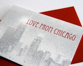 Letterpress greeting card - Love from Chicago - Skyline